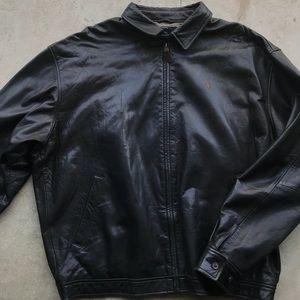 Polo Ralph Lauren black leather Harrington coat
